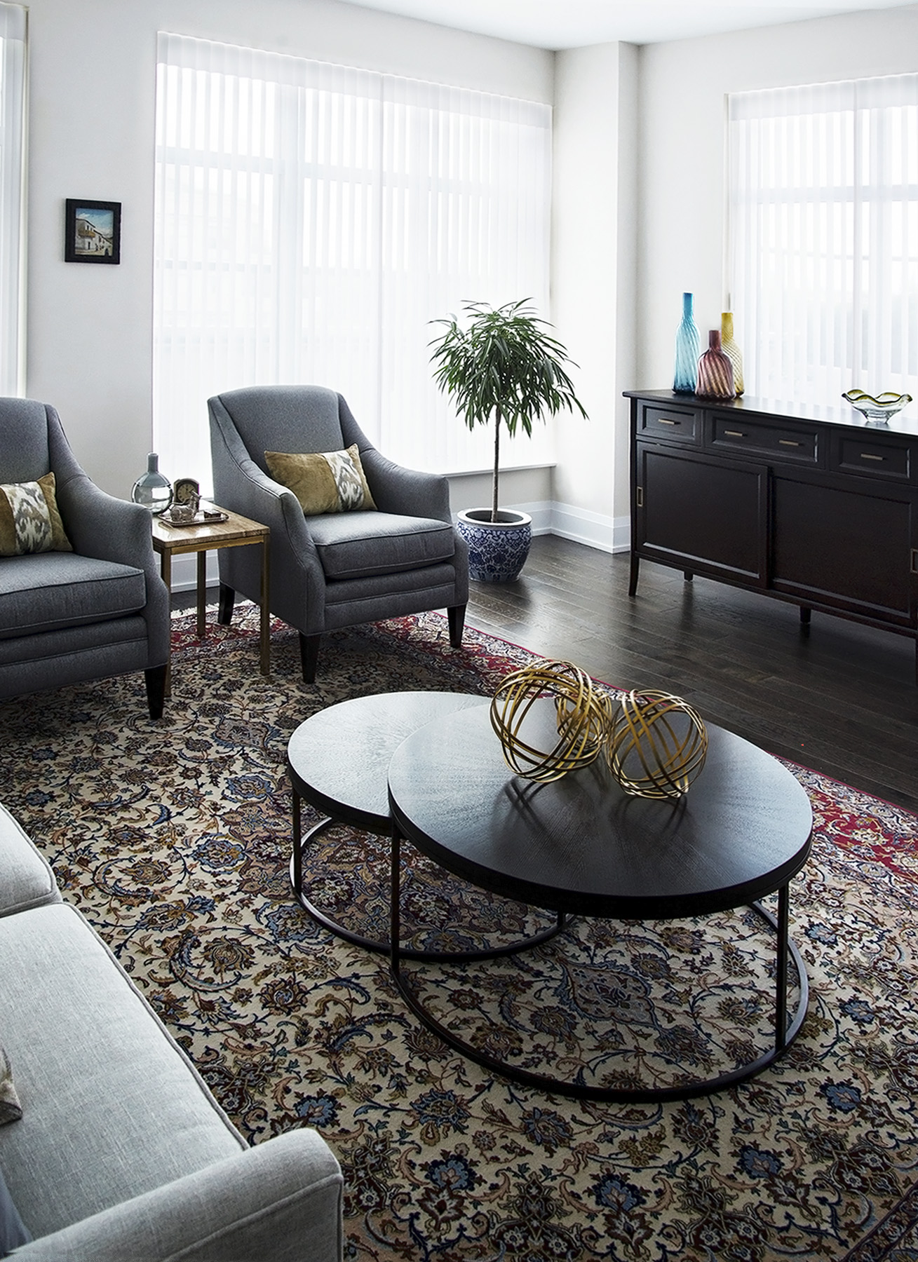 homefront redesigns project Old Mill Condo modern living room Kingsway