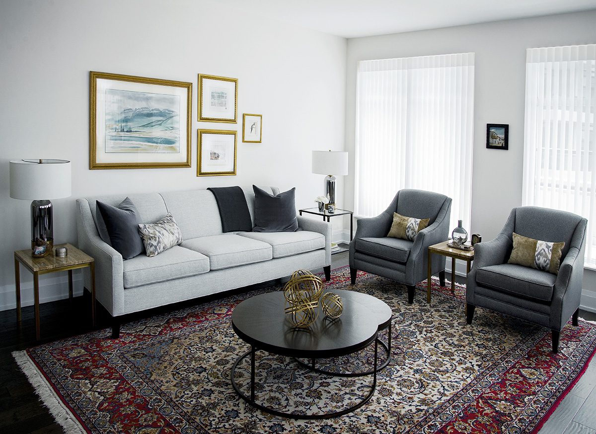 Modern living room in Kingsway condo in Toronto