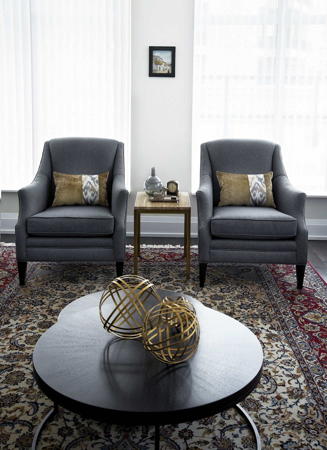 homefront redesigns project Old Mill Condo living room chairs, Kingsway