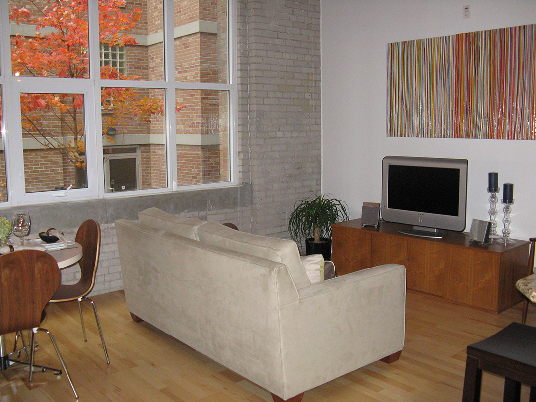 homefront redesigns project Queen Street Loft, Toronto, living room area