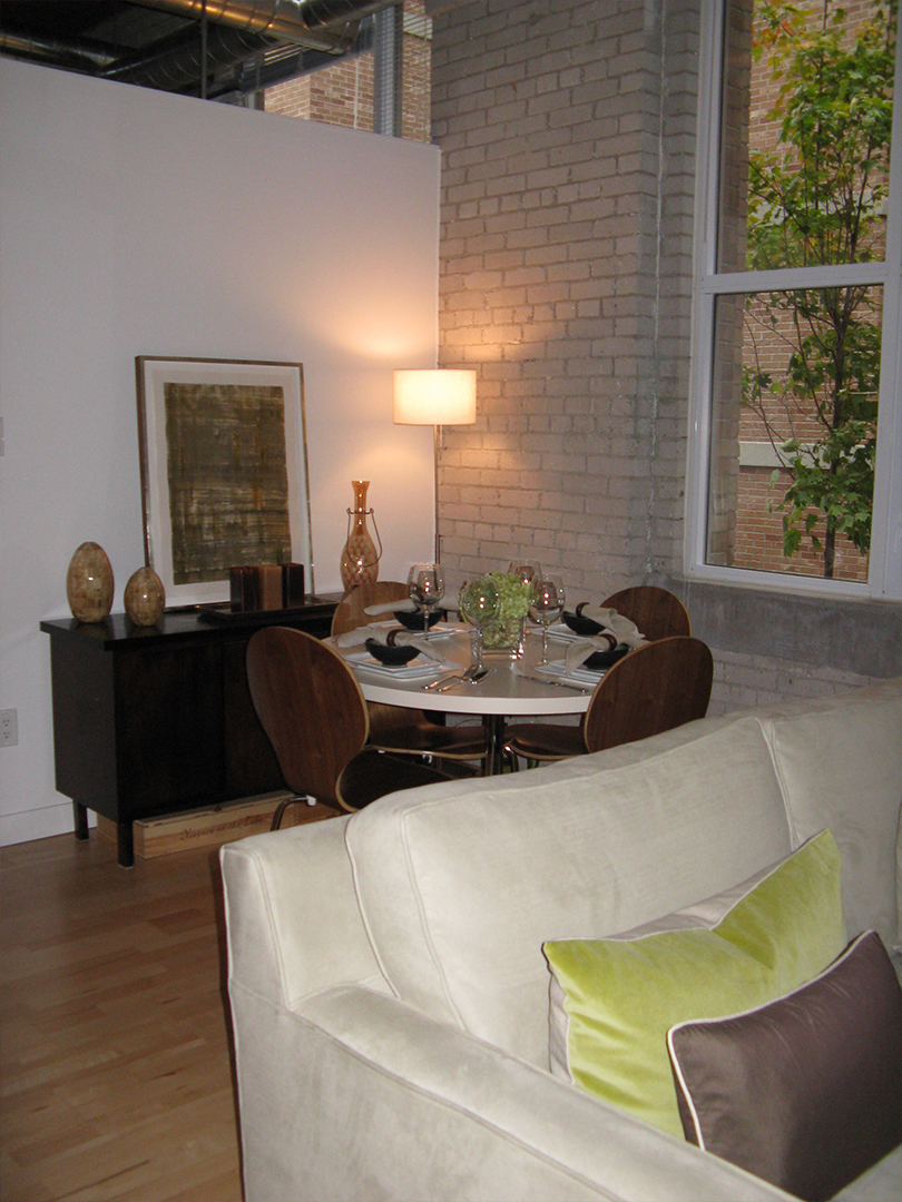 homefront redesigns project Queen Street Loft, Toronto, living/dining area