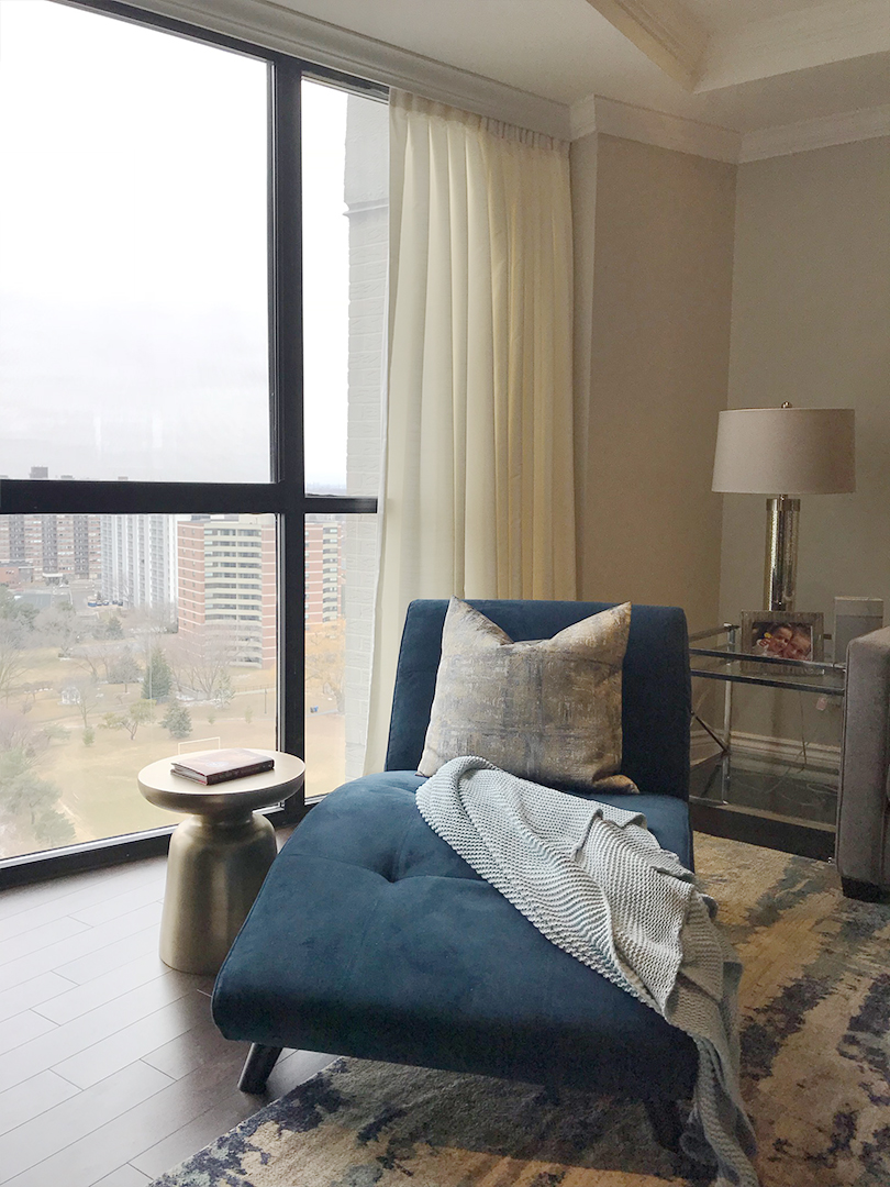 homefront redesigns project Richview Road penthouse modern chaise, Westmount, Humber Valley in Etobicoke