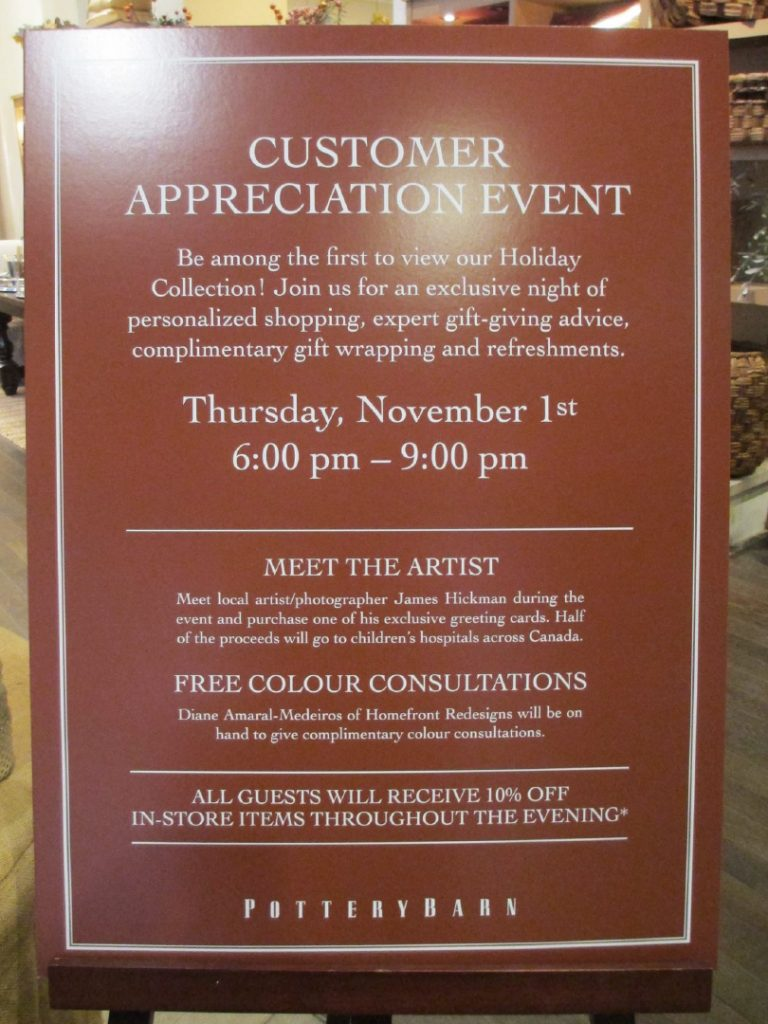 Pottery Barn Customer Appreciation event poster -holiday collection