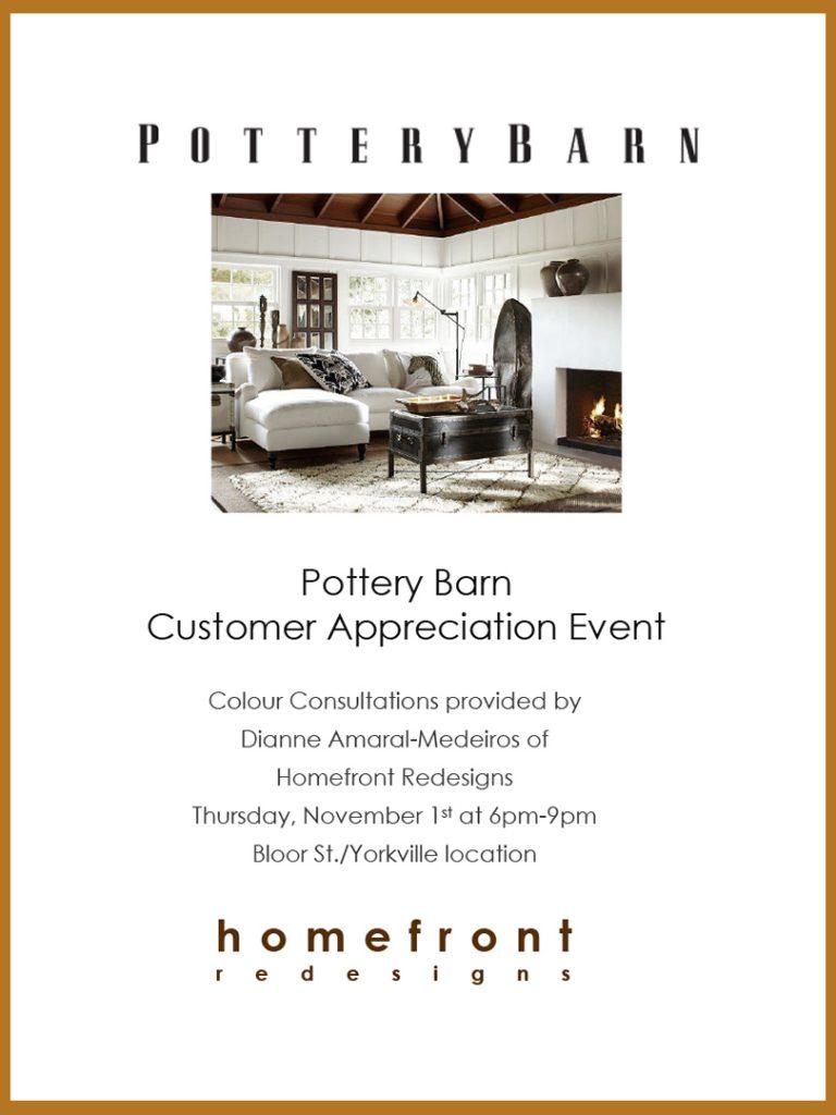 Pottery Barn Customer Appreciation event poster