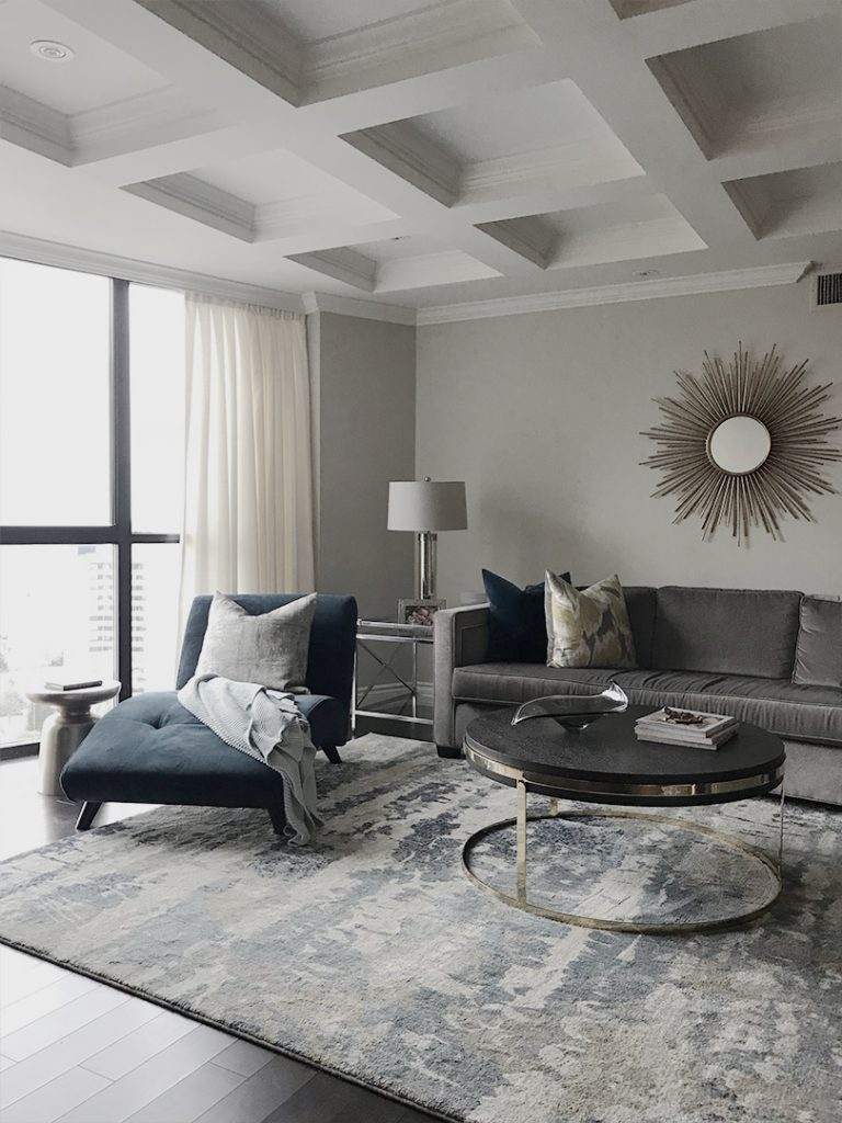 Modern living room in penthouse on Richview Road in Westmount, Humber Valley in Etobicoke